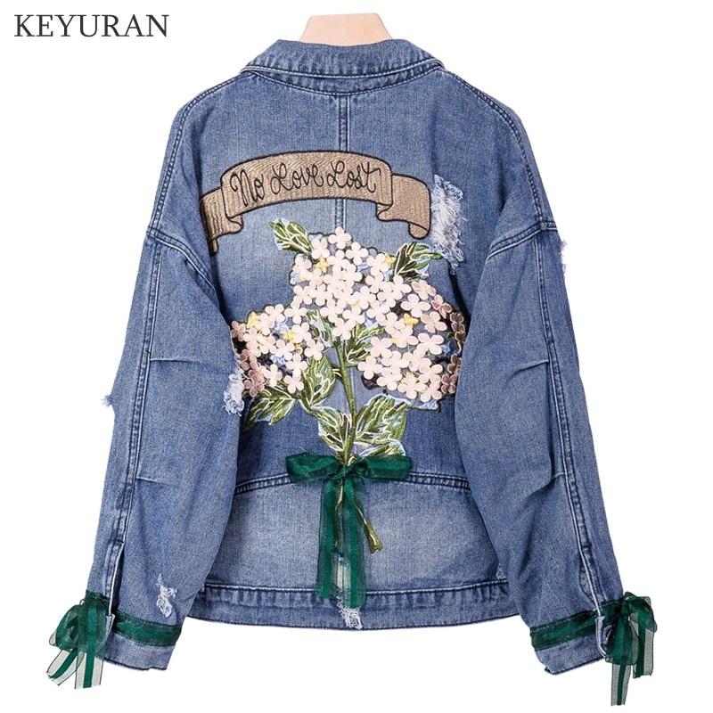 Oversize 5XL broderie Denim veste femmes printemps européen Station lâche décontracté court Jeans manteau femme Harajuku rétro survêtement
