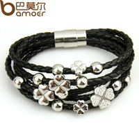Free Fast Shipping Leather Wrap Woven Flower Bracelet Bangles White For Women Fashion Handmade Stainless Steel