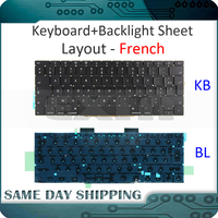 New for Macbook Pro 13.3 Retina A1708 French Keyboard FR AZERTY Keyboard+Backlight Late 2016 Mid 2017 EMC2978/3164 MLL42 MPXQ2