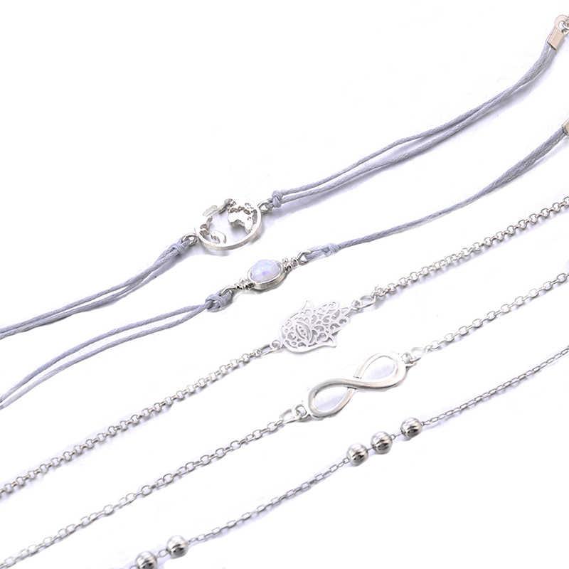 5 adet/takım Punk Retro palmiye harita boncuk mücevher gümüş renk deri zincir kolye bilezik seti kadın Charm katmanlı bilezik seti