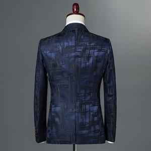 Image 2 - 2019 New Autumn Winter Mens Classic Leopard Print Slim Fit Blazers Male Single Button Casual Business Suit Jacket Wine red Khaki