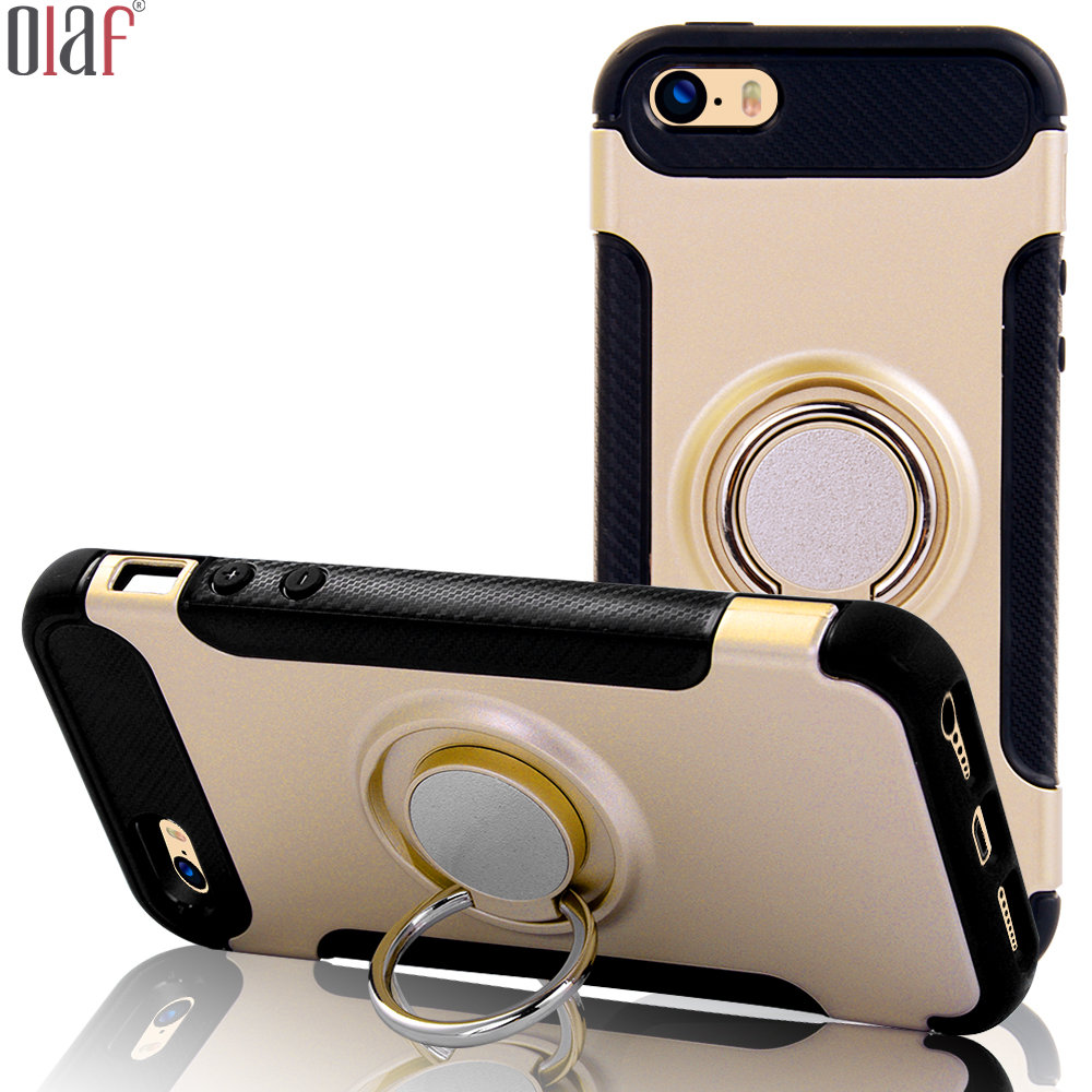 Hot Kickstand Car Holder Magnetic Case for iPhone 5 5S SE Glossy golden Armor Case for iPhone 5s Shockproof TPU+PC back cover