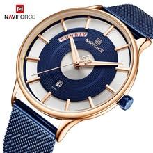 NAVIFORCE New Watch Men Blue Stainless Steel Band Quartz Wristwatch Fashion Sport Mens Watches Waterproof Relogio Masculino 2019