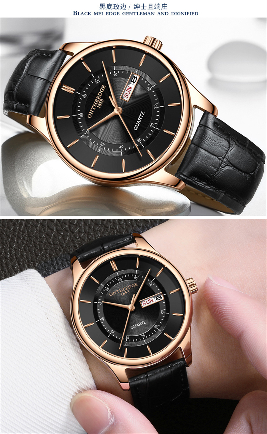 HTB1P9X3i.R1BeNjy0Fmq6z0wVXak High Quality Rose Gold Dial Watch Men Leather Waterproof 30M Watches Business Fashion Japan Quartz Movement Auto Date Male Clock