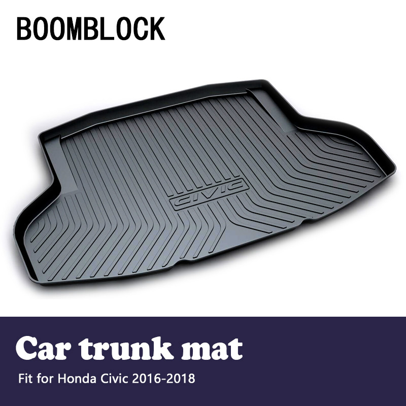BOOMBLOCK For Honda Civic 2017 2018 2016 Waterproof Anti-slip Car Trunk Mat Tray Floor Carpet Pad Protector Auto Accessories boomblock for infiniti q50 q50l waterproof anti slip car trunk mat tray floor carpet pad protector auto accessories