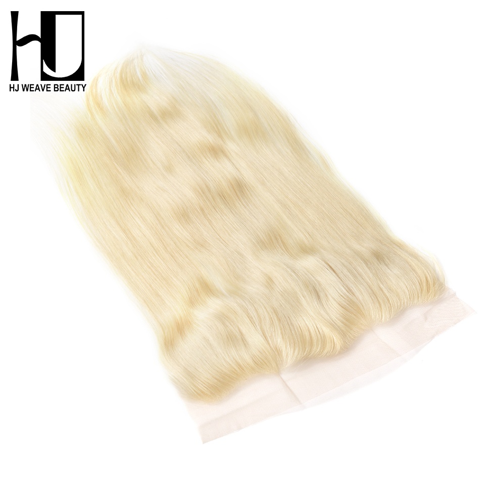 HJ WEAVE BEAUTY 613 Blonde Hair Lace Frontal Closure Peruvian Straight Remy Hair 13x4 Closure 100