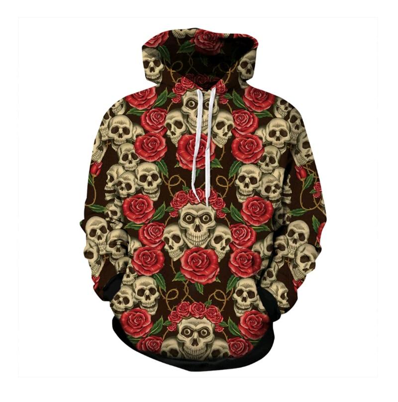 2018 New Floral Skull Print 3D Hoodie Men Women Unisex Hooded Sweatshirt Harajuku casual Style Hooded sweatshirt free shipping
