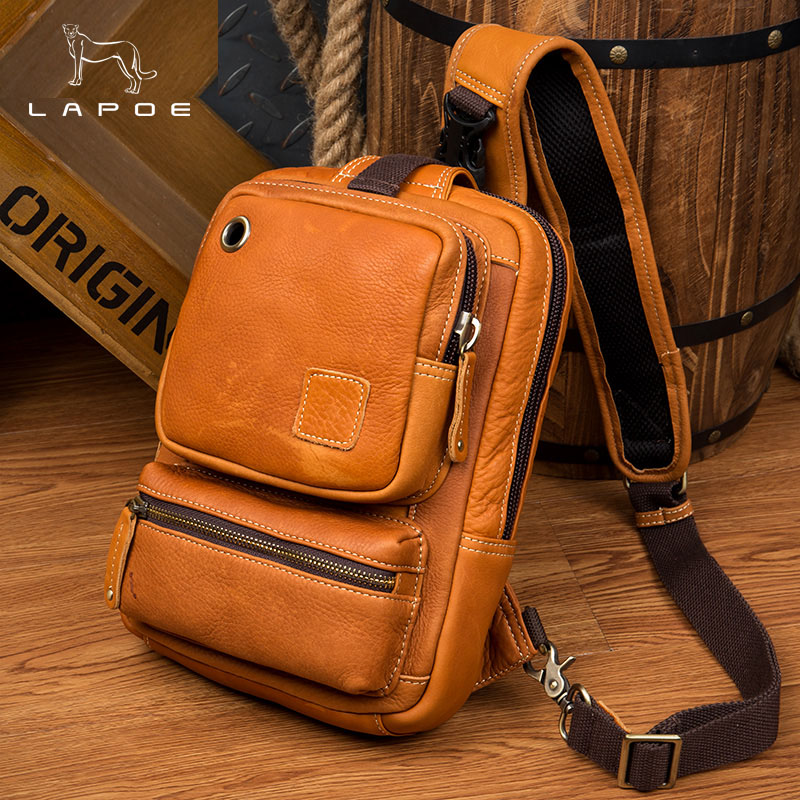 2018 New Fashion Men Chest Bag Famous Brand Genuine Leather Vintage Messenger Shoulder Bag Simple Casual Crossbody Bag Male цена