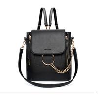 Multi Functional PU Leather Backpacks Women Metal Ring Crossbody Bags Female Spring Hot Sale Fashion Shoulder