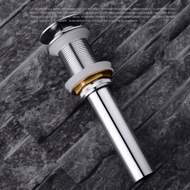Chrome Finish Brass Bathroom Vanity basin Sink Drain stopper drainer Push Down Pop up Waste Overflow or Non-Overflow Assembly