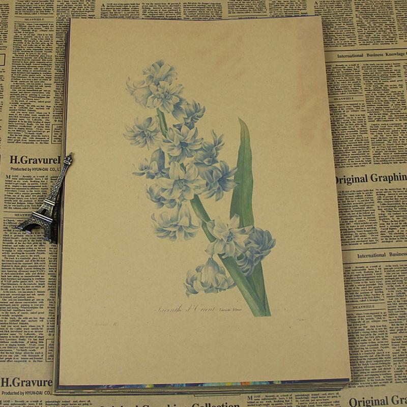 Free shipping AQ-046 Retro vintage poster about lovely flowers Kraft paper