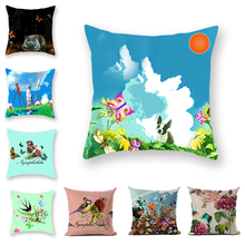 Creative Ink Synthetic throw pillow Butterfly Printed Pillowcase Animal Home Decor Cushion Cover Pattern Green Accessories