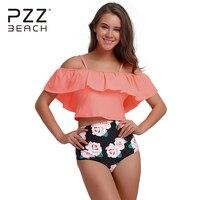 Bandeau 2018 New Women Off Shoulder Bikini Ruffled Swimwear Women High Waist Swimsuit Push Up Bikini