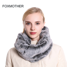 FOXMOTHER New Brand Ladies Winter Soft Russian Faux Fur Rabbit Black White Neck Warmer Scarf Snood For Women Scarves Foulard