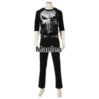 The Punisher Season 1 Costume Punisher Man Cosplay Superhero T Shirt Leather Halloween Adult Men Clothes New Arrival Belt Custom