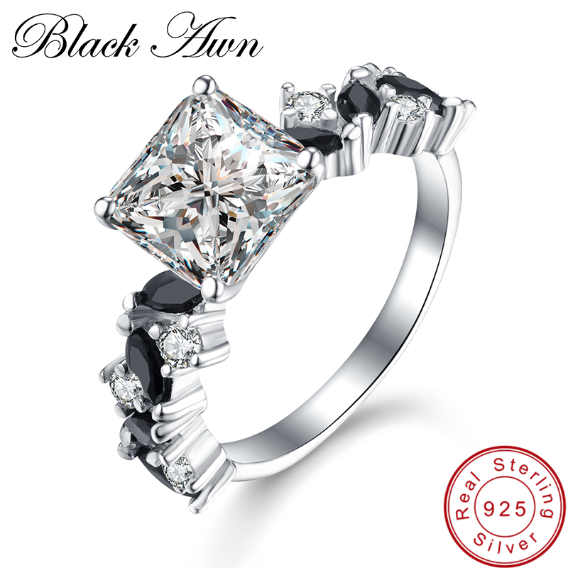 [BLACK AWN] Nature Inspired Neo-Gothic 925 Sterling Silver Jewelry Vintage Wedding Rings for Women Femme Bijoux Bague C350