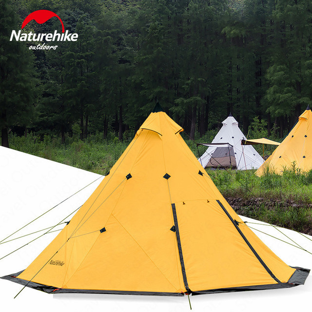 buy popular eaf53 5802d US $221.78 25% OFF|Naturehike Teepee Tent Outdoor Camping Tent Pyramid  Camping Tents Large Capacity Windproof Rainproof Waterproof Family Tent-in  ...