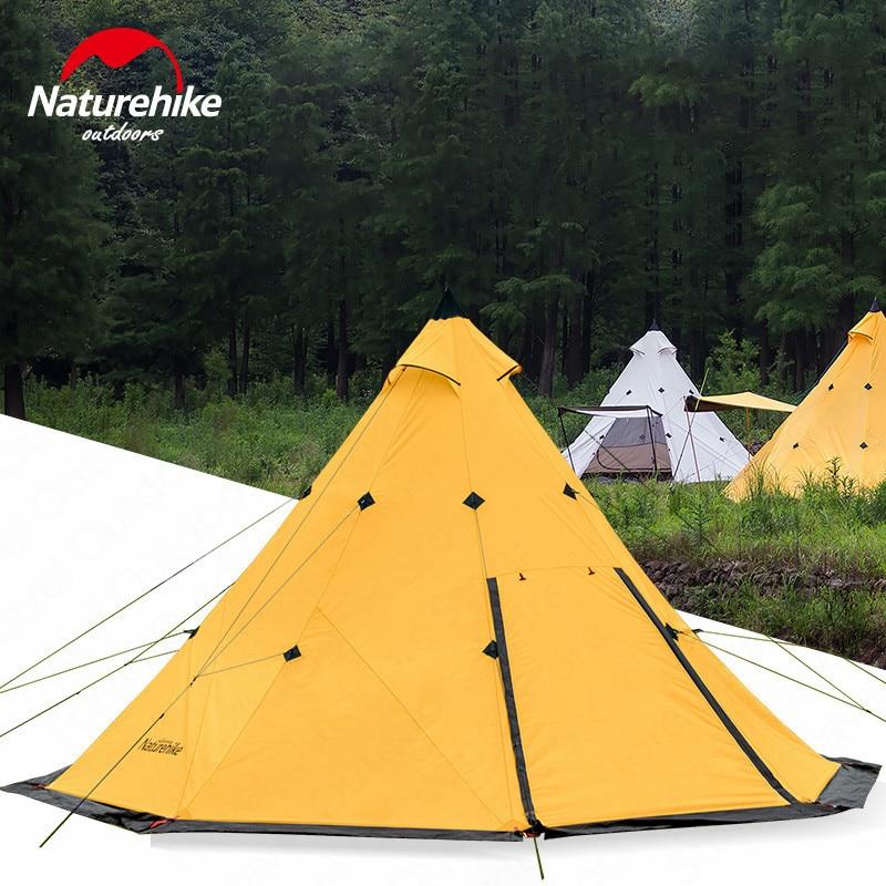 Naturehike tente de tipi En Plein Air tente de camping Pyramide tentes de camping Grande Capacité Imperméable Coupe-Vent imperméable tente familiale