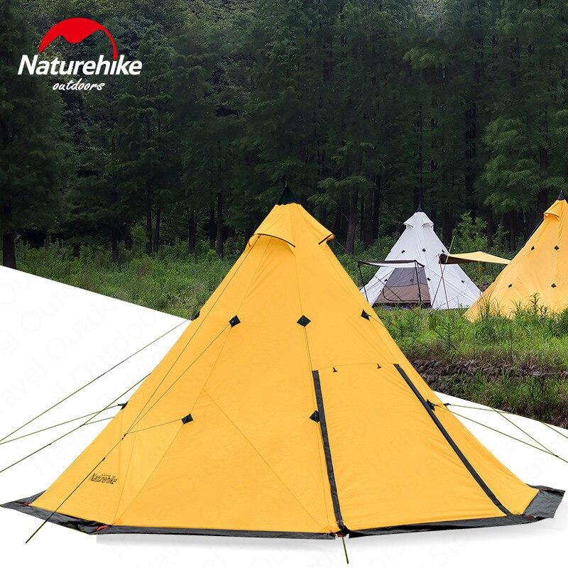 Tienda de campaña Naturehike Teepee al aire libre tienda de campaña pirámide tiendas de Camping gran capacidad a prueba de viento impermeable Tienda Familiar
