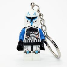 XINH 019 Star Wars Minifigures Keychain Blue Clone Soldiers Trooper Keychains DIY Handmade Building Blocks Sets Model Toys