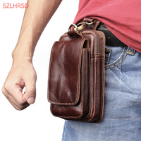Luxury Genuine Cow Leather Mini Casual Bag Men's Waist Belt Bags case For Huawei Y3 Y5 Y6 Y7 Y9 Prime 2018 Phone case Cover