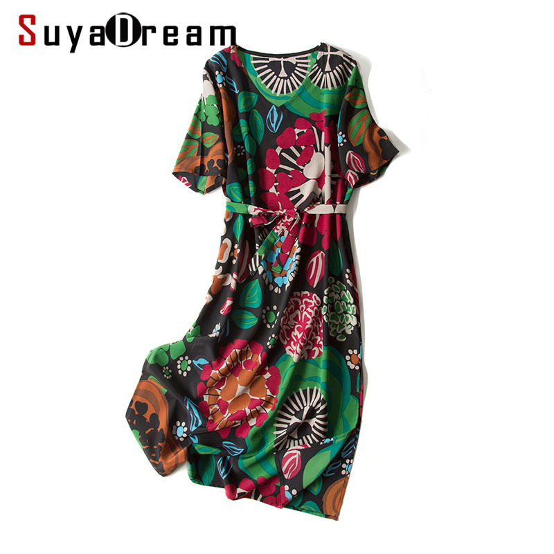 Women Printed Dress 100 REAL SILK CREPE Belted Dresses for Women 2019 Summer Short Sleeved Knee