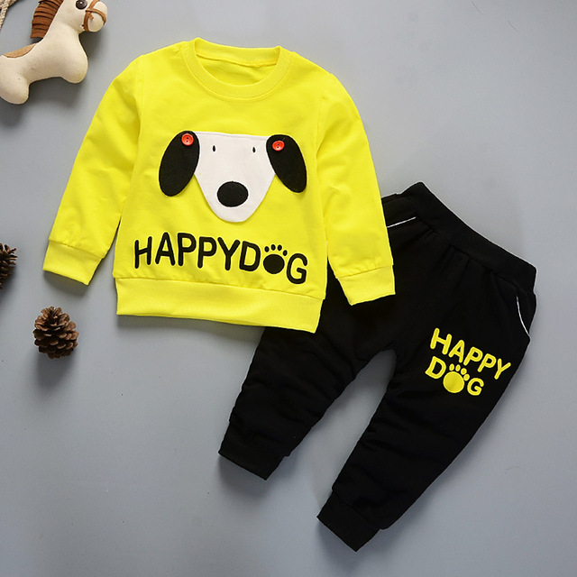 Spring Girls Clothing Sets 2018 New Active Boys Clothing Sets Children Clothing Cartoon Print Sweatshirts+Pants Suit