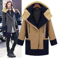 2016 Fashion Women Coat New Female Zipper Hooded Coat Plus Size Women's Long Sleeve Stitching Winter Coat M329