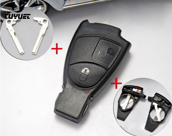 2 Buttons Smart Remote Key Shell for Mercedes Benz CLK SLK S A B C ClASS Car Key Blanks Case With Battery Holder and Key Blade