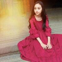 2018 принцесса Обувь для девочек в платье в горошек Красный Гофрированные слои Дизайн сладкий страны Стиль копчения для Age56789 От 10 до 14 лет