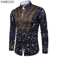 PARKLEES Floarl Embroidery Black Lace 2018 Slim Fit See Through Sexy Dress Shirts Men