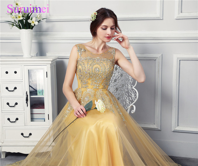 Golden Lace Embroidery Evening Dresses Women Tulle Beaded Lace Up