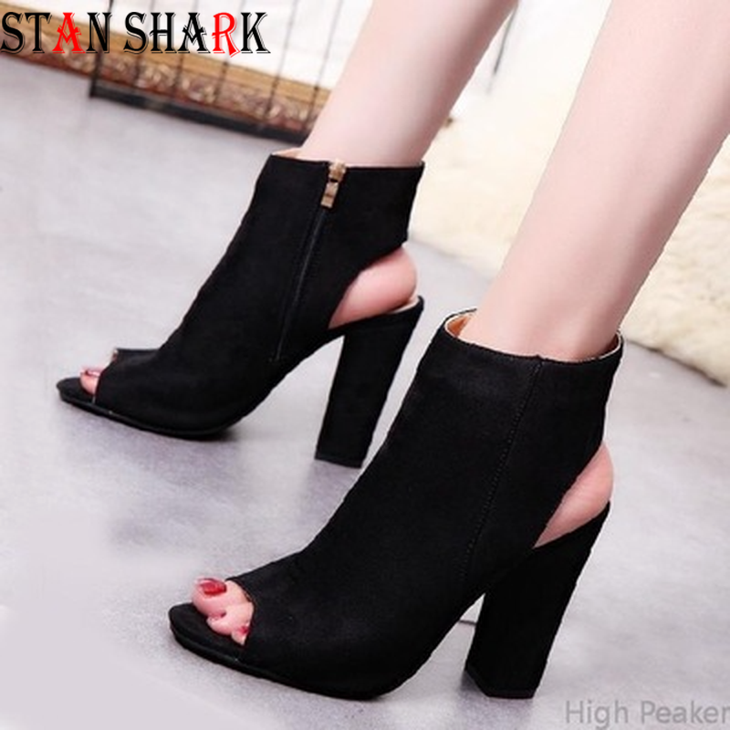 New Women Ankle Boots Faux Suede Leather Casual Open Peep Toe High Heels Zipper Fashion Square Rubber Black Shoes for Women
