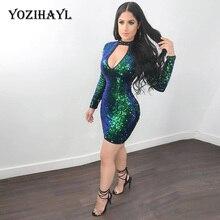 e0e06eb8ff Yozihayl 2018 Seksowny Szyi Luksusowe Olśniewająca Suknie Kobiety Party  Klub Wear Błyskotka Krótkie Mini Sukienka Z Długim Rękaw.