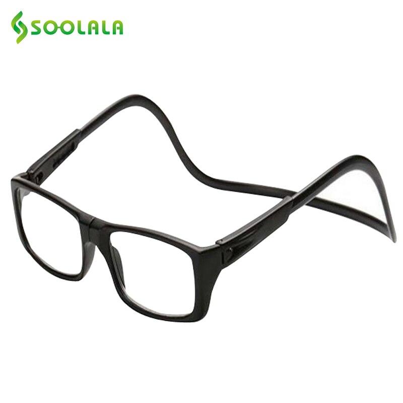 SOOLALA jaunas salokāmas magnētiskās nolasīšanas brilles Noklikšķiniet, lai nekad neatļautu sievietēm un vīriešiem kakla nodiluma brilles Reader +1 līdz +4