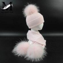 New Fashion Children's Wool Knit Hat Scarf 2 Pieces Set Winter Warm Kids Baby Boy Girl Raccoon Fur Pom poms Soft Hat Scarves