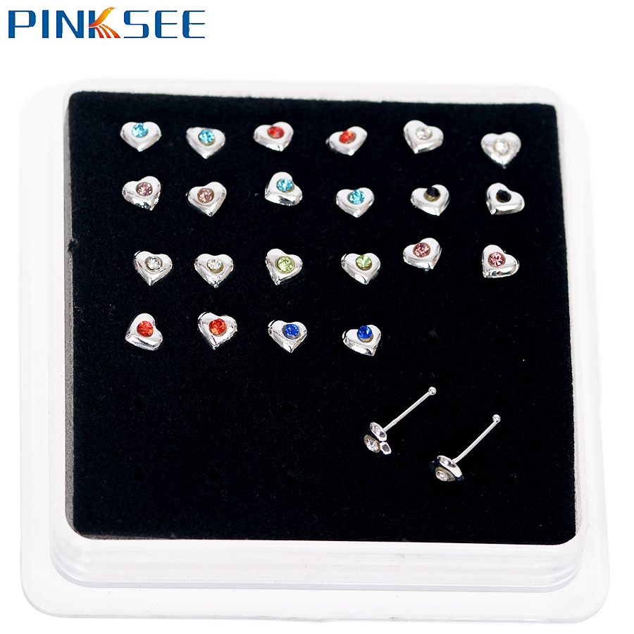24pcs/Pack Crystal Heart Flower Nose Rings Stud Piercing Stainless Steel Bar Ear Tragus Nail Nose Studs Hoop Body Jewelry
