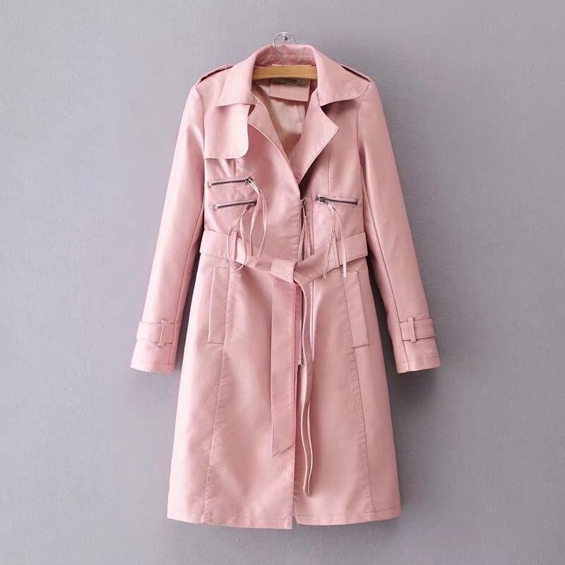 burgundy Para Largo Cuero Mayor Voguein Por Abrigo 3 Al Chaquetas Black Colores Mujer Imitación Lazo De Cinturón pink 2018 Moda Nuevas qwvCwTH0