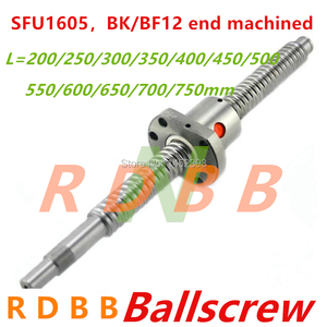 Image 1 - SFU1605 200 250 300 350 400 450 500 550 600 650 700 750 mm ball screw with flange single ball nut BK/BF12 end machined CNC parts