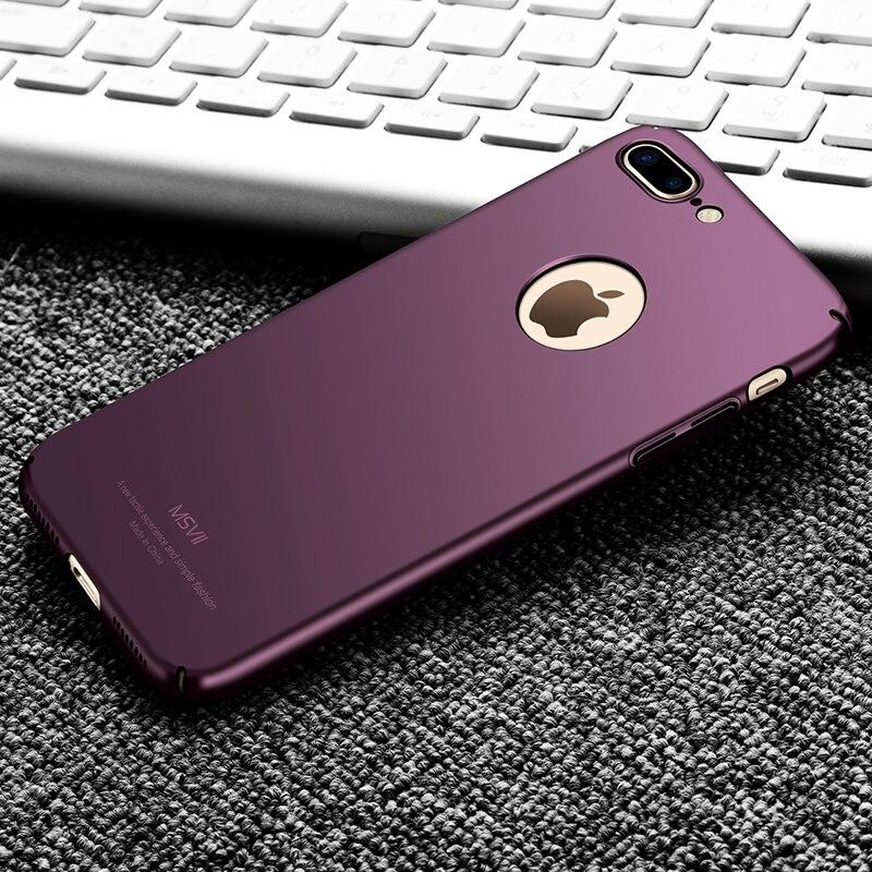 MSVII Cas Pour iPhone 7 Plus 8 Plus Cas De Luxe Mince Dur Gommage PC Couverture arrière Pour Apple iPhone 7 8 6 6 s Plus SE 5S 5 Téléphone cas