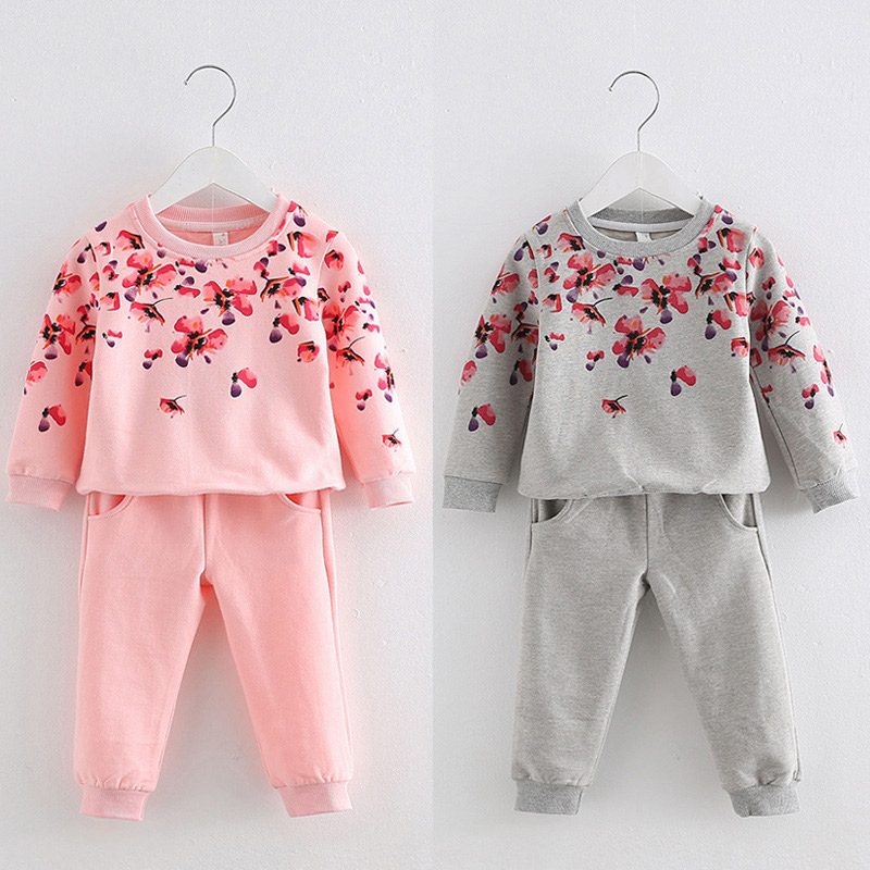 2017 New Autumn Girl Children's Clothing Children's Sweater Trousers Baby Girls Clothing T-Shirt+Pants Kids Clothes Set