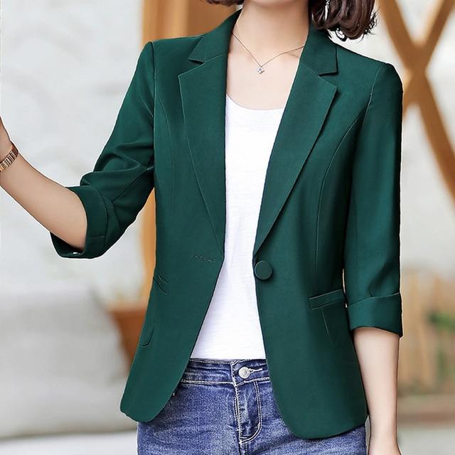 2019 OL Solid Single Button Slim Thin Women Blazer Jacket Lady Notched Three Quarter Sleeve Blaser feminino Outerwear