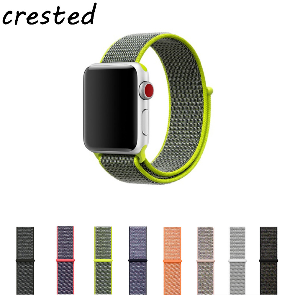 CRESTED Sport Woven Nylon Loop Strap For Apple Watch Band Wrist Bracelet Belt Fabric Like Nylon