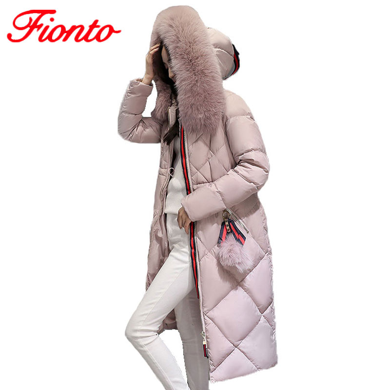 2017 Down Coat Women Winter Large Fur Collar Hooded Jacket Female 90% Duck Down Coat Warm Cotton Parkas Thick Outwear A1028