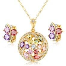Venta caliente de Cristal Austriaco Joyería Set para Las Mujeres de Oro Rosa Plateado Ronda Estilo Colgante/Pendientes Conjuntos Parure Bijoux Femme
