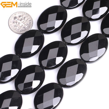 جوهرة-داخل 18X25 ملليمتر 13x18 ملليمتر 15 بوصة الطبيعي الأوجه شقة البيضاوي الأسود العقيق الخرز لصنع المجوهرات سوار قلادة DIY الخرز
