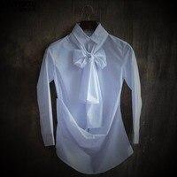 Benzersiz tasarım kişilik erkek uzun kollu gömlek Beyaz, ekose gömlek kişinin ahlak eğlence çizgisiz üst giysi