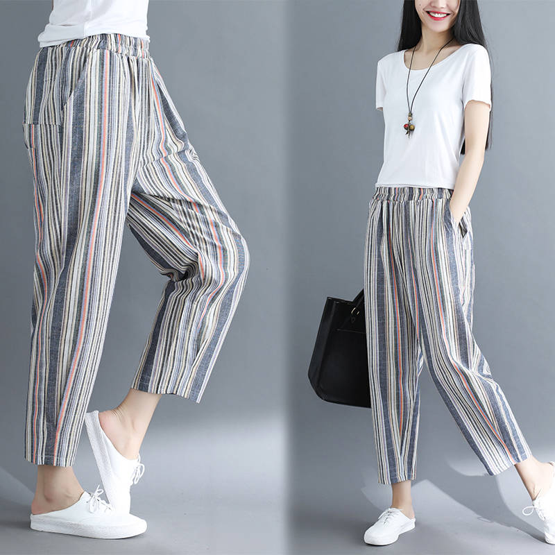 Idopy Fashion Womens Harem Pants Cotton Linen Loose Fit Striped Ankle Length Summer Drop Crotch Trousers For Female Outerwear 2