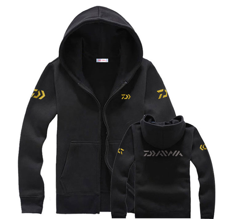 Spring Autumn Fishing Clothes Sea Fishing Warm Fleece Daiwa Hoodie Outdoor Windproof Fishing Jacket with Hood Golden Mark-in Fishing Clothings from Sports & Entertainment    1