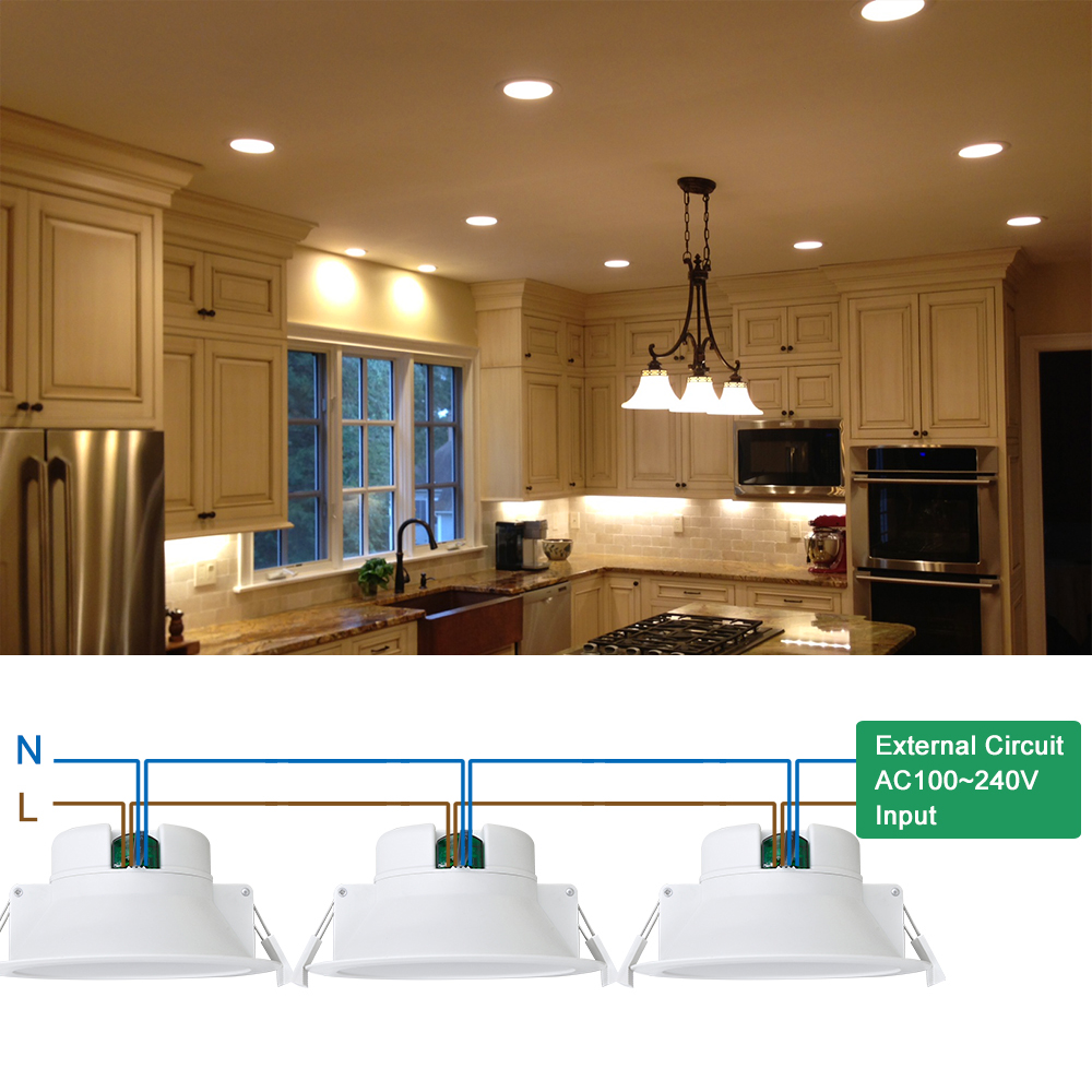 14w Recessed Led Downlights Kitchen Bathroom Ceiling Lighting Warm White 3000k Cut Hole 120mm Ac100 240v Ip44 In From Lights